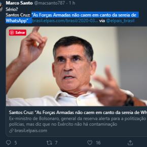 Em entrevista ao El País, O General Santos Cruz parece fazer piada da desgraça dosbrasileiros