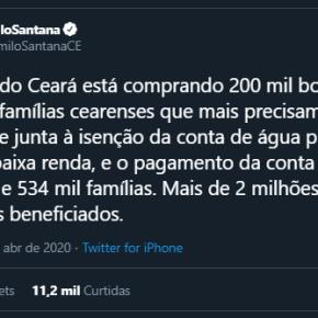 Governo do Ceará distribui 200 mil bujões de gás, isenta contas água e paga conta de Luz da população maispobre