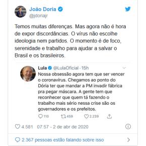 Em mensagens no twitter, Lula e Dória defendem unidade na guerra contra apandemia