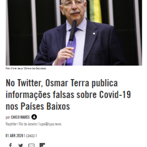 Pra bajular chefe antes da nomeação pra saúde, Osmar Terra falou pelo menos 11 inverdades sobre oCoronaVírus