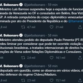 Ação de Paulo Pimenta faz STF suspender expulsão de Embaixador Venezuelano no Brasil e Bolsonaro enlouquece notwitter
