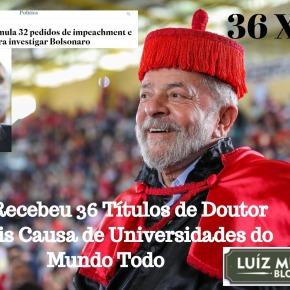 Enquanto Lula acumula 36 Títulos de Doutor Honoris Causa, Bolsonaro já soma… 32 pedidos de impeachment contraele