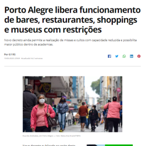 Duas semanas depois do Prefeito liberar shoppings e restaurantes,  Porto Alegre tem aumento de ocupação de leitos de UTI porCovid-19