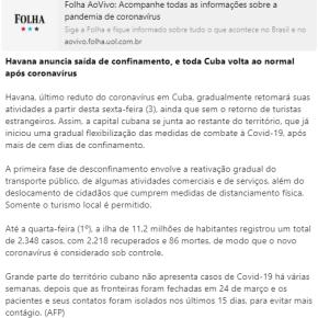 Vai pra Cuba!! Após 110 dias de confinamento total, Cuba abre pra normalidade. Morreram…86 pessoas! O Socialismo faz bem àsaúde?