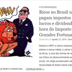 Pra manter 1º lugar entre os países mais desiguais do Mundo, ricos do Brasil não querem Imposto Sobre Fortunas de jeitonenhum