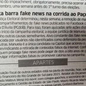 Justiça determina a remoção de 23 mil fake news contra Manuela D'avila das Redes Sociais só nestaSemana