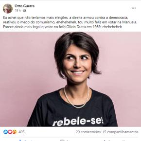 Grande Cineasta e brizolista convicto, Otto Guerra declara voto em Manuela D'ávila e diz porque: