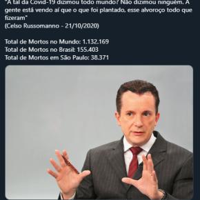 """Russomano diz que os mais de 13 mil paulistanos mortos pela COVID-19  na cidade de São Paulo são """"ninguém"""""""