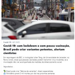 Bolsonaro esta vencendo guerra biológica: já matou 260 mil e usa brasileiros para criar variantes do Vírus para atacar omundo