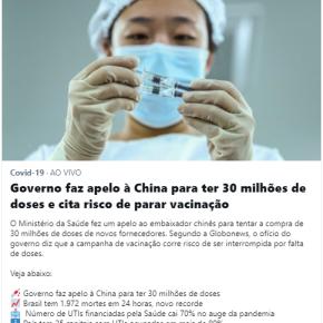 Vergonha mundial: Depois de deixar de comprar vacinas no mundo, Governo Bolsonaro agora mendiga 30 milhões de vacinas daChina