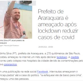 Prefeito de Araraquara, do PT, é ameaçado depois de lockdown que reduziu mortes por COVID-19 a quasezero