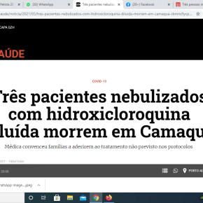 Em Camaquã, Três pacientes morrem após nebulização com hidroxicloroquina, aplicada por Médica defendida porBolsonaro