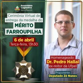 Pedro Hallal receberá Medalha do Mérito Farroupilha no dia 6 de abril na Assembleia Legislativa do RS