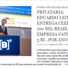 Privataria no RS: CVM abrirá INVESTIGAÇÃO contra CEEE por omissão na divulgação deinformações