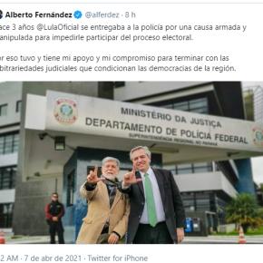 Pelo twitter, Alberto Fernández lembra três anos da prisão política de Lula e ex-presidente agradece