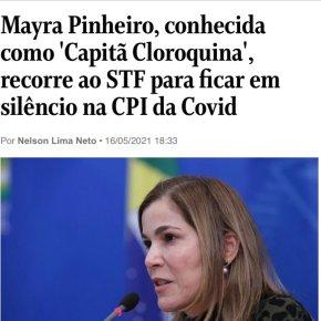 """Confissão de culpa: Assim como Pazuello, """"Capitã Cloroquina"""" pede Habeas Corpus para não depor emCPI"""