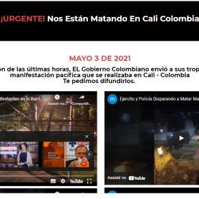 Vídeos dos ataques das forças policiais e militares ao povo na Colômbia. Já há 19 mortosoficialmente