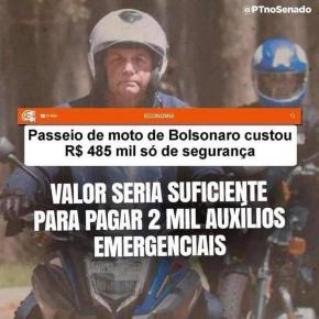 Dinheiro Público: Passeio de Bolsonaro pelo RJ custou R$ 485 mil só em despesa com mil policiais e suasmotocicletas