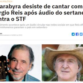 Guarabira, Maria Rita e Guilherme Arantes cancelam participação em Álbum de Sérgio Reis por declaraçõesgolpistas