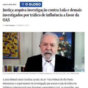Mais uma farsa de Moro e da Lava Jato desmontada: Justiça arquiva mais um processo contraLula