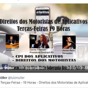 Direitos dos Motoristas em Aplicativos do RS são Pauta de Programa Quinzenal Ao Vivo, em PortoAlegre