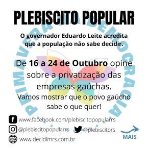 PLEBISCITO POPULAR E COMIDA NO PRATO (Por SelvinoHeck)